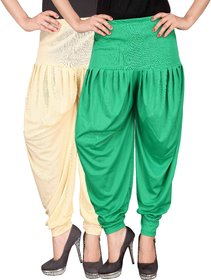 Culture the Dignity Cream,Green Lycra Dhoti Pants