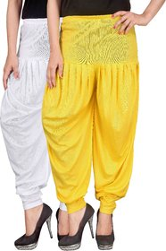 Culture the Dignity White,Yellow Lycra Dhoti Pants