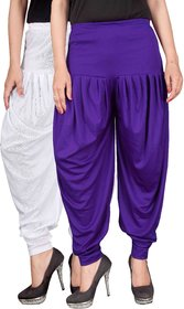 Culture the Dignity White,Blue Lycra Dhoti Pants