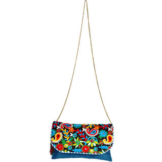 Blue With Flower Ethnic Clutch