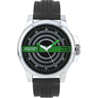 Benetton black dial silicon strap analog watch available at shopclues for for Benetton watches