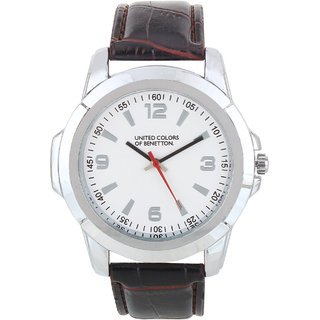 Buy benetton white dial tan leather strap analog watch online get 50 off for Benetton watches