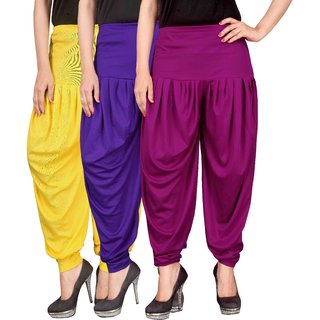 Culture the Dignity Yellow,Blue,Purple Lycra Dhoti Pants