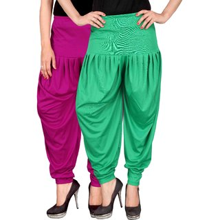 Culture the Dignity Pink,Green Lycra Dhoti Pants