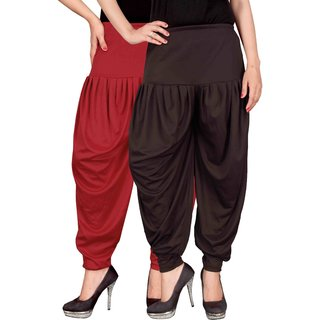Culture the Dignity Red,Brown Lycra Dhoti Pants