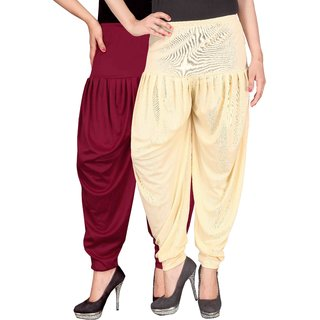 Culture the Dignity Maroon,Cream Lycra Dhoti Pants
