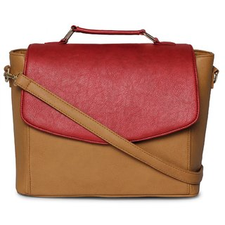 Cappuccino 22619Camel-Red Color blocked stylish hand bag with long adjustable sling