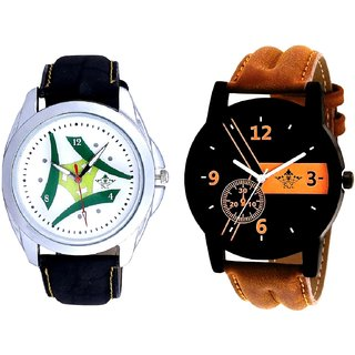 Luxury Brown Leather Strap And Luxury Green Tri Fan SCK Men's Combo Wrist Watch