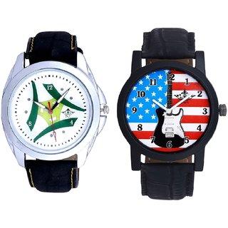 Exclusive USA Design  And Luxury Green Tri Fan SCK Men's Combo Wrist Watch