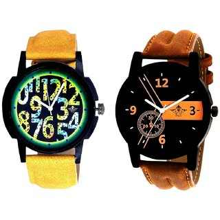 Luxury Brown Leather Strap And Awesome Exclusive Digits Analog Men's Combo Wrist Watch