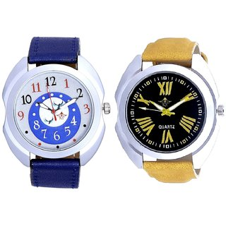 Roman Digits Special Design And Almight Blue Round Dial SCK Combo Gallery Wrist Watch