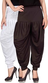 Culture the Dignity White,Brown Lycra Dhoti Pants