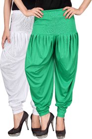 Culture the Dignity White,Green Lycra Dhoti Pants