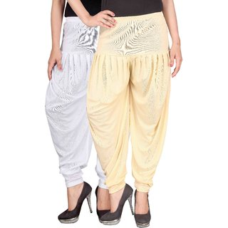 Culture the Dignity White,Cream Lycra Dhoti Pants