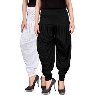 Culture the Dignity White,Black Lycra Dhoti Pants