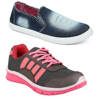 Chevit Womens Combo Sports Shoes and Denim Casual Shoes (Loafers and Mocassins)