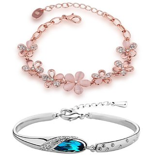 Om Jewells Combo of Two Pink Floral and Silver Classic Colour Adjustable Bracelets for Girls and Women CO1000050