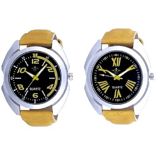 Fancy Yellow Sports Strap Dial And Roman Digits Special Design SCK Men's Combo Wrist Watch