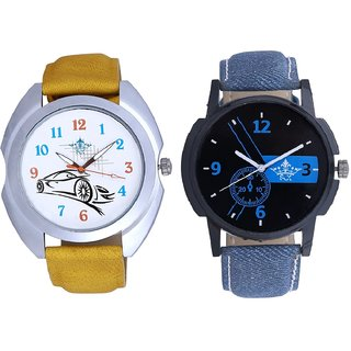 Attractive Blue Dial And Rolls-Royce Car Analogue SCK Men's Combo Watch