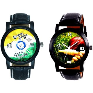 Cricket Super Design And Young India Grow India SCK Men's Combo Wrist Watch