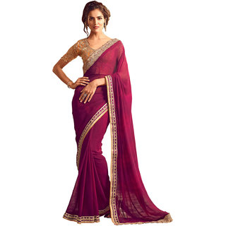 Swaron Purple Colored Lace Georgette Saree