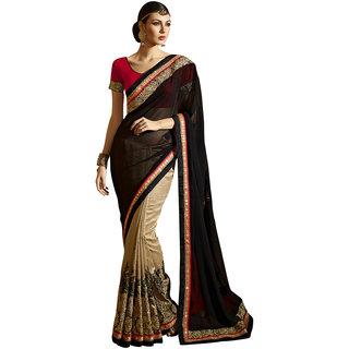 Swaron Beige and Black Colored Embellished Dhupian Silk Saree