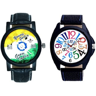 Addition Multi Colour Digits And Young India Grow India SCK Men's Combo Wrist Watch