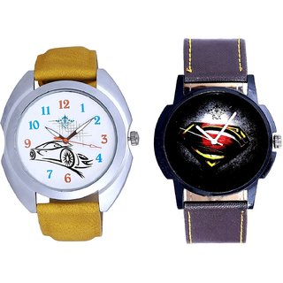 Super Men Stylish And Rolls-Royce Car Analogue SCK Men's Combo Watch