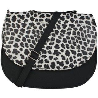 Bizarre Vogue Women's Sling Bag (Adjustable Strap, Upper Handle, Tiger Print, Black)