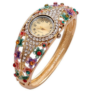 Jewels Galaxy Limited Edition AAA AD Sparkling 18K Rose Gold Plated Multicolor Cystal Bracelet For Women/Girls