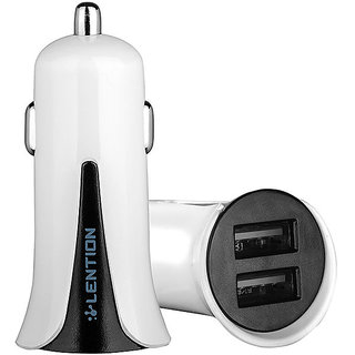 High Quality Dual USB Car Charger White Color Model no. C228 Lention Brand