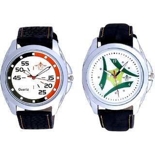 Luxury Green Tri Fan And Orange Black Multi Dial SCK Men's Combo Wrist Watch