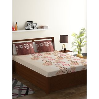 Bombay Dyeing Brown 55% Polyester 45% Cotton Foliage Double Bed Sheet