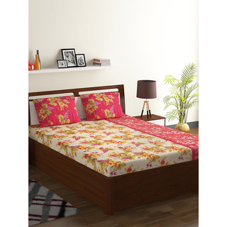 Bombay Dyeing Red 100% Cotton Breeze Double Bed Sheet