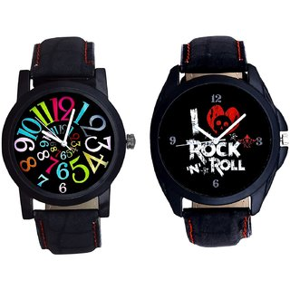 I Love Rock N Roll Print Dial And Spanish Special Colour Digit SCK Men's Combo Wrist Watch