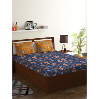 Bombay Dyeing Blue 100 Cotton Breeze Double Bed Sheet