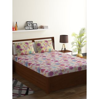 Bombay Dyeing Purple 55% Polyester 45% Cotton Foliage Double Bed Sheet
