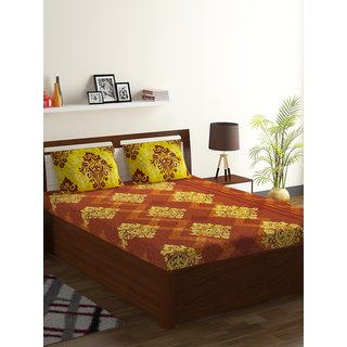 Bombay Dyeing Brown 100% Cotton Breeze Double Bed Sheet