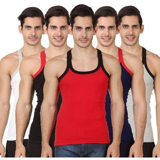 (PACK OF 3) COMMON MEN RX Men's GYM VEST - Multi-color - FREE SIZE (M-XL)