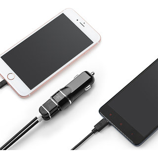 Dual USB Car Charger With1 meter Mirco Cable Model no.C228 Black color Lention Brand