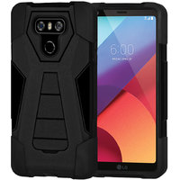 Amzer Dual Layer Hybrid KickStand Case - Black/ Black For LG G6