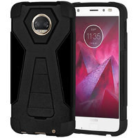 Amzer Dual Layer Hybrid KickStand Case - Black/ Black For Motorola Moto Z2 Force