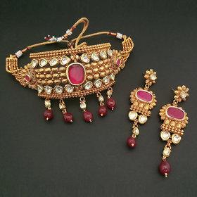 JewelMaze AD Stone Choker Copper Necklace Set-FBB0043