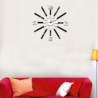 DIY Wall Clock 3D Sticker Home Office Decor 3D Wall Clock (Covering Area6565cm) - DY610SB