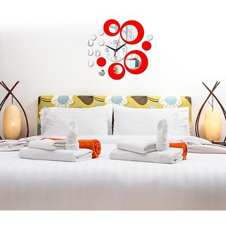 DIY Wall Clock 3D Sticker Home Office Decor 3D Wall Clock (Covering Area4050cm) - DY454SR