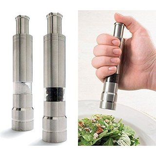 Right Traders Stainless Steel Pepper Mill Grinder Muller - Press Button ( pack of 1 )