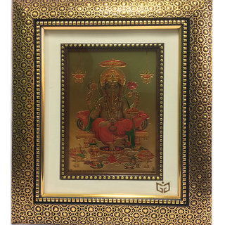24k Gold Plated Lord Raja Ganesha Figure in Antique Frame