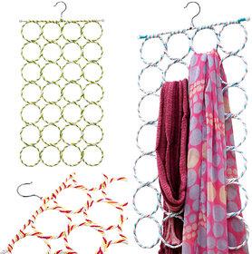 Right Traders 28-hole Hangers Ring Rope Slots Holder Hook Scarf Wraps Storage Hanger Organizer Scarf Rack Tie Rack ( pack of 1 )