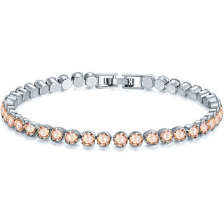 Jewels Galaxy Crystal Elements Exclusive Luxuria Rhodium Plated Single Strand Bracelet For Women  Girls (Light Orange)