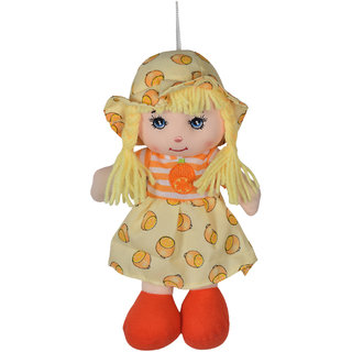 Ultra Cute Hanging Baby Doll Soft Toy Yellow with Orange Shoe 10 inches